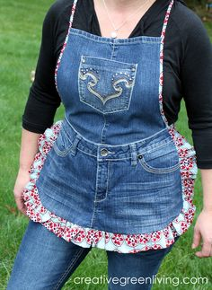 Cute Farm Girl Apron from Recycled Jeans ~ Creative Green Living -- this would be cute for a craft fair kind of thing...keep your phone, keys, whatnot in the pockets. ;)