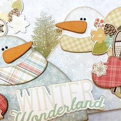 I'm loving these new wood decor projects! ❤️They are so much fun, so easy, and a new way for me to be creative. The new Winter Wonderland collection from @simplestories_ is so perfect for these little snow buddies!  This is a little peek at what is coming!! ❄️☃