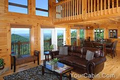 Peak Of Perfection is a beautiful three-level log cabin, positioned near the top of a mountain, offering stunning mountain views, from within a resort community just minutes from the attractions in Pigeon Forge, Dollywood, and the Great Smoky Mountains National Park. #fun #view #mountain #cabin