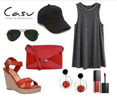 Lekka, czerwono czarna propozycja od Casu.pl! #summer #black #red #outfit