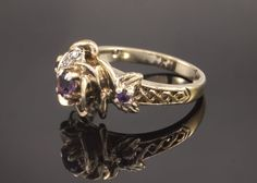 Vintage Gold on Silver Diamond Amethyst Ring by BelmontandBellamy