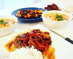 Repas Asiatique : Boeuf Panang, Légumes sautés et brochettes Saté.