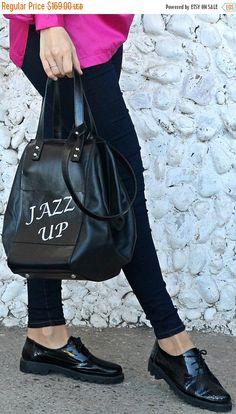 """ON SALE 20% OFF Black Leather Handbag / Genuine Leather Travel Bag / Large Tote Bag / """"Jazz up"""" Handbag / Weekender Bag / Personalized Bag T"""