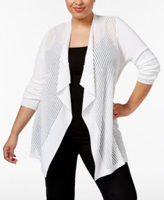 JM Collection Plus Size Sheer Open-Front Cardigan, Only at Macy's