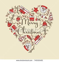 Christmas and New Year card in the shape of a heart with Christmas decorations and present. Vector hand drawn illustration.