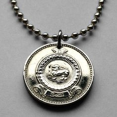 Ceylon 50 Cents coin pendant Sri Lankan gold lion necklace sword Dharma n001515 #coinedJewelry #Pendant