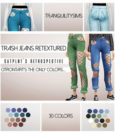 """tranquilitysims: """"@savage-sims's """"Trash jeans"""" retextured to be maxis match • In 9 colors from @citrontart's the only colors I would wear in real life palette • And all of the colors from @catplnt's retrospective palette • The Mesh is required! you..."""