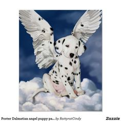 Poster Dalmatian angel puppy painting