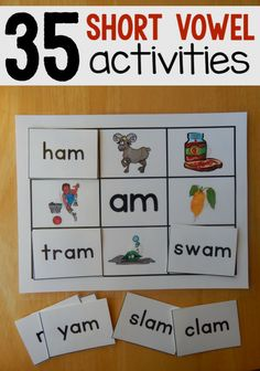 35 Free hands-on reading mats for short vowels from The Measured Mom