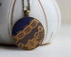 Retro Jewelry, Vintage Mustard Yellow and Navy Jewelry, Blue and Yellow Necklace, Navy Blue and Mustard Pendant