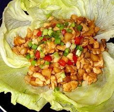 Chinese Chicken Lettuce Wraps (no carbs). Perfect recipe, didn't revamp it at all. Would be yummy to add peanuts!