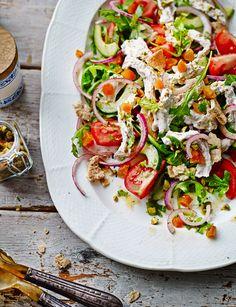 Lebanese turkey salad. Summer, light, healthy, main recipe with apricots, pistachio nuts, greek yogurt and wild rocket.