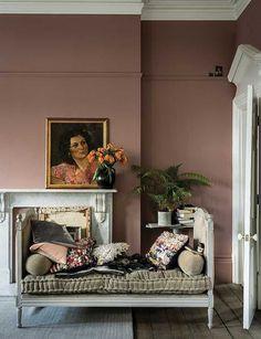 British paint manufacturer Farrow & Ball has expanded its extensive color card with nine new shades. Carefully chosen to balance Farrow & Ball'. Room Wall Colors, Living Room Colors, Living Room Paint, My Living Room, Living Room Designs, Dusty Pink Bedroom, Pink Bedroom Walls, Pink Room, Pink Bedrooms