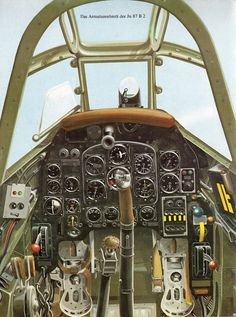 Cockpit of the Junkers Ju-87 B 2, Single engine German dive bomber.