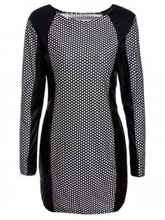 Sexy Jewel Neck PU Leather Splicing Long Sleeve Printed Dress For Women