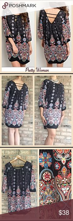 "Paisley Lined Lace Tunic Dress Black Multi SML Calling all pretty women...here is a beautiful, flattering boho tunic dress you can wear with sandals or boots all year long. Can even be worn as a tunic. 100% wrinkle free polyester & lined. Gorgeous shades of red, blue against black background. ❤️❤️❤️❤️❤️❤️❤️ Measurements Laying Flat Small Bust 18"" Length 33""  Medium Bust 19"" Length 34  Large Bust 20"" Length 34"" Dresses Midi"