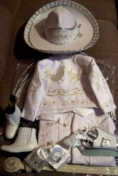 Charro Toddlers Baptism WHITE-SILVER rooster  all include