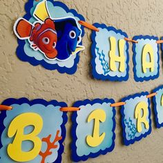 Your childs birthday party will be a hit with this Finding Dory Banner! This Happy Birthday banner is made with high quality, acid free, and lignin free cardstock. This particular banner is blue, yellow, orange and teal accents. The coral is made of teal glitter to make it sparkle! The colors can be changed to match your theme at no additional charge. Each pennant is 5.5. Ribbon selection may vary depending on availability. (If this happens I will do my best to find the closest, possible…