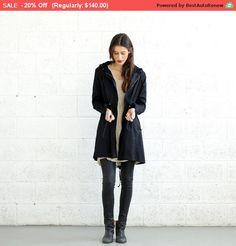 Spring SALE * SALE!Winter Flax Coat, Back Zip Coat-Black.