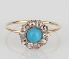 14k Gold Persian Turquoise & Old Rose Cut Diamond Halo Ring - Size 5.75