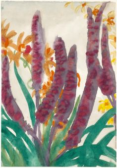 Emil Nolde (German-Danish, 1867 - 1956)   Floral watercolor with spadix and orchid tendrils, 1925-30  Watercolor on paper