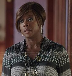 Annalise's green patterned blouse on How to Get Away with Murder.  Outfit Details: http://wornontv.net/37622/ #HTGAWM