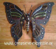 Papillon de métal décoré avec la peinture 3D DIAM'S