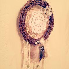 """8"""" Large Natural Gyspy Summer Crochet Dreamcatcher // Native american bohochic hippie white doily dream catcher"""