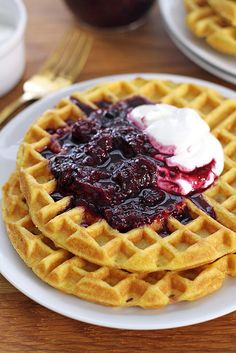 fluffy coconut flour waffles + simple berry compote