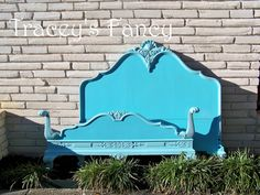So would this work in a nursery as a headboard behind a crib? Worth trying... French Provincial Full Bed  Aqua by TraceysFancy on Etsy, $650.00