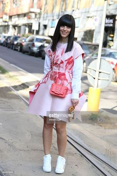 Laura Comolli is seen in the streets of Milan arriving at the Dolce Gabbana show during Milan...