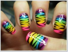 Zebra nail art Ideas design for teens 2015