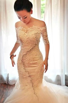 Stunning Off-The-Shoulder Half Sleeves Appliques Beadings Wedding Dress