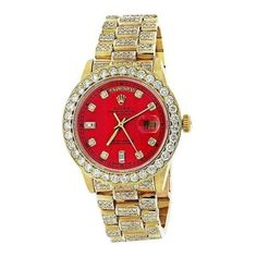 Pre-owned Rolex 18038 Presidential 18K Yellow Gold Single Quick Set Di ❤ liked on Polyvore featuring jewelry, 18k gold jewellery, red jewellery, 18k gold jewelry, gold jewellery and 18 karat gold jewelry