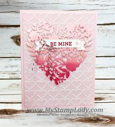 Ombre Bloomin' Heart Die Valentine's Day Card. Stampin' Up! Love Blossoms. www.mystamplady.com