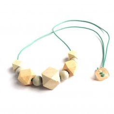 Handmade wooden geometric blank necklace