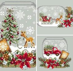 Crosstitch m Landscape Xmas Cross Stitch, Cross Stitch Needles, Cross Stitch Charts, Cross Stitching, Cross Stitch Embroidery, Cross Stitch Patterns, Christmas Ornaments To Make, Christmas Cross, Christmas Diy
