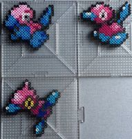 #137, #233, #474 Porygon Family Perlers by TehMorrison