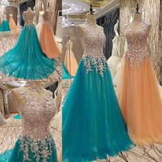 AHS002  New Arrival Tulle White Lace with Appliques Train Prom Dresses 2017