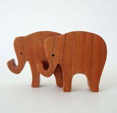 Toy Elephants Wooden Waldorf Animal Toys Miniature Noah's Ark Animals Zoo Animal…