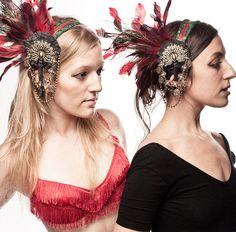 Crimson Peacock Art Nouveau Headdress