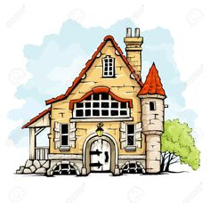 Fairytale Old House In Retro Style Vector Illustration Isolated.. Royalty Free Cliparts, Vectors, And Stock Illustration. Pic 16890148.