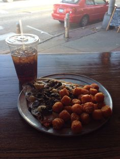 Baxter's house pizza and sweet potato tator tots....