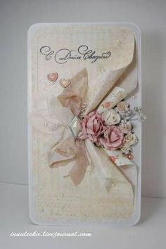 Chic Cards Wedding Card Hand Made Ideas Shabby Chic Trendy Ideas Vintage Wedding Cards, Wedding Cards Handmade, Vintage Cards, Greeting Cards Handmade, Vintage Handmade Cards, Fancy Fold Cards, Folded Cards, Paper Cards, Diy Cards