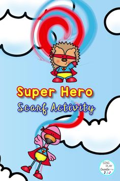 Move like a superhero with your scarf! A SUPERHERO Scarf activity with Music activities to teach High/Low, Fast/Slow, Expression and Directional word activities to connect scarf movements to MATH concepts. Your students will love the swishing, swooshing, wiggling, and tossing scarves like superheroes! Kindergarten Music Lessons, Preschool Music Activities, Activities For Kids, Movement Preschool, Movement Activities, Color Activities, Line Up Chants, Freeze Dance, Music And Movement