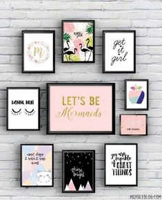 {Free printable} 10 girly posters to print! {Free printable} 10 posters girly à imprimer! {Free printable} 10 girly posters to print! Diy Room Decor, Living Room Decor, Home Decor, Living Rooms, Girl Wall Decor, Girly, Poster S, Bedroom Art, Bedroom Ideas