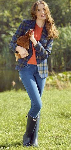 NW3 checked jacket, £179, hobbs.co.uk Orange knit top, £14.99, hm.com Paris jeans, £154, mlh-Jeans.com Navy Hunter wellies,£85, my-wardrobe.com