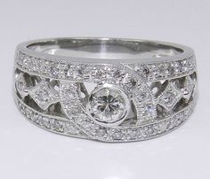 14K White Gold Unique Brilliant Diamond Anniversary Ring Band