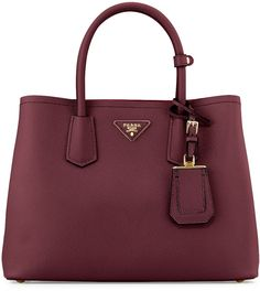 Prada Saffiano Medium East-West Tote Bag, Red (Granato)