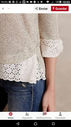 Stitch Fix Stylist: I LOVE the lace detail on the sweater! Kleidung Design, Stitch Fix Stylist, Mode Inspiration, Lace Trim, Eyelet Lace, Lace Detail, Passion For Fashion, Style Me, Autumn Fashion
